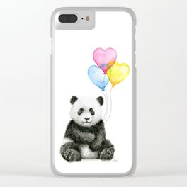 Panda Baby with Heart-Shaped Balloons Whimsical Animals Nursery Decor Clear iPhone Case