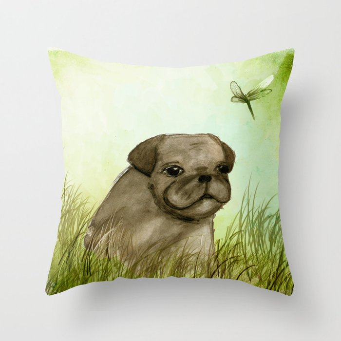 Pug in the grass Throw Pillow