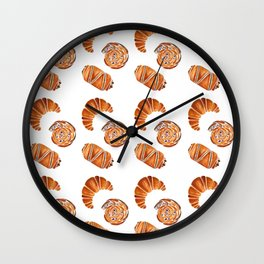 French pastries - croissant, chocolate, rasin Wall Clock