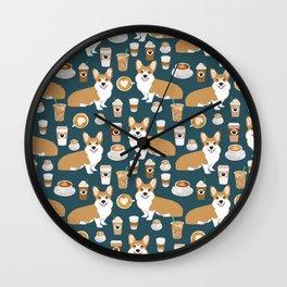Corgi Coffee print corgi coffee pillow corgi iphone case corgi dog design corgi pattern Wall Clock
