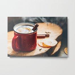 Mulled wine in a red ceramic mug Metal Print