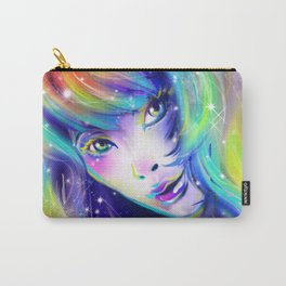 rainbow girl galaxy hair colorful eyes look Carry-All Pouch