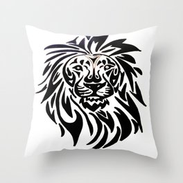 Lion face black and white Throw Pillow