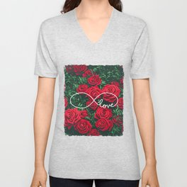 Red Roses Photography & Infinity Love Sign Unisex V-Neck