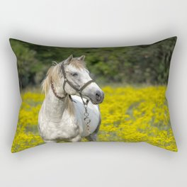 Gray Horse in a Field of Yellow Mustard Rectangular Pillow