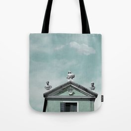 Mint Building on Aqua with Clouds and Sculptures Tote Bag