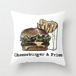 Cheeseburger & Fries Throw Pillow