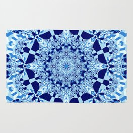 Blue toned cubism in a kaleidoscope Rug