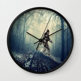 Misty Railway Bigfoot Crossing Wall Clock