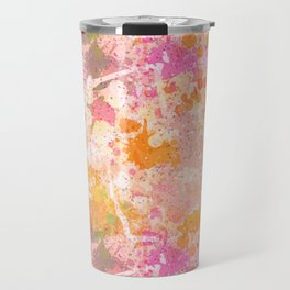 Abstract Paint Splatters Pink & Orange Travel Mug