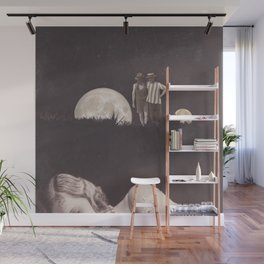 Moon on a meadow vintage 1920s Wall Mural