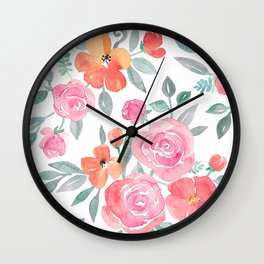 Amelia Floral in Pink and Peach Watercolor Wall Clock