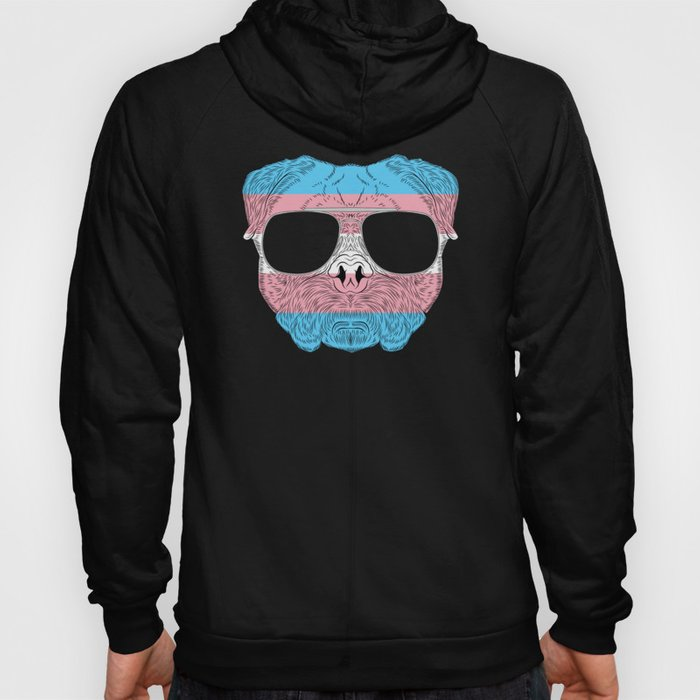Pug Dog Face Transgender with Sunglasses Hoody