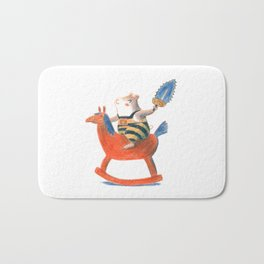 Always a child at heart - cute hamster on playhorse Bath Mat