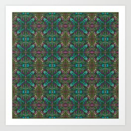 aboriginal style - flowers and leaves 1 green Art Print