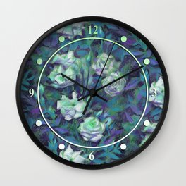 White roses, blue leaves Wall Clock