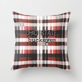 Ohio State Buckeye Plaid Throw Pillow