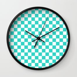 White and Turquoise Checkerboard Wall Clock