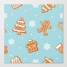 Gingerbread Cookies & Snowflakes Canvas Print