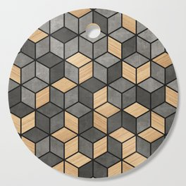 Concrete and Wood Cubes Cutting Board