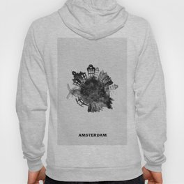 Amsterdam, The Netherlands Black and White Skyround / Skyline Watercolor Painting Hoody