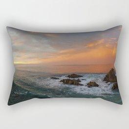 """I need the sea because it teaches me."" ~ Pablo Neruda Rectangular Pillow"
