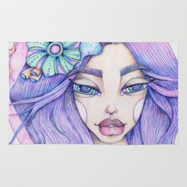 JennyMannoArt Colored Graphite/Keira the Mermaid Rug