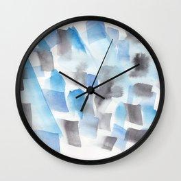 180713 Blue Black Brush Stroke Watercolour Wall Clock
