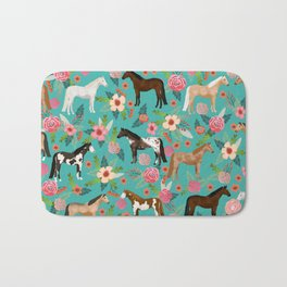 Horses floral horse breeds farm animal pets Bath Mat