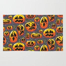 jack o lanterns jackolanterns purple pumpkin halloween creepy spooky holiday theme Rug