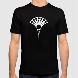 black and white art deco inspired fan pattern T-shirt