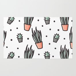 Sansevieria and cactus doodles Rug