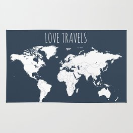 Love Travels World Map in Navy Blue Rug