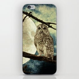 Barred Owl Bird Night Moon Blue Tans Country Art A137 iPhone Skin
