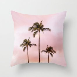 Palm Tree Photography Landscape Sunset Unicorn Clouds Blush Millennial Pink Throw Pillow