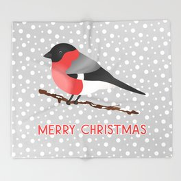 Cute Eurasian Bullfinch Bird Illustration On Gray Merry Christmas Throw Blanket