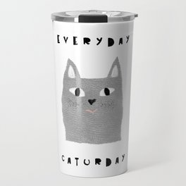 Caturday / poster, cat, art print, pictures, scandinavian, nursery, deco, family, art, animal, petti Travel Mug