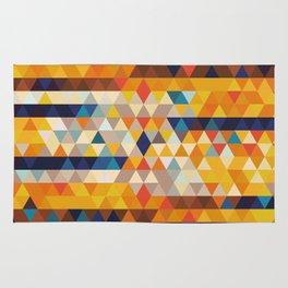 Geometric Triangle - Ethnic Inspired Pattern - Orange, Blue Rug
