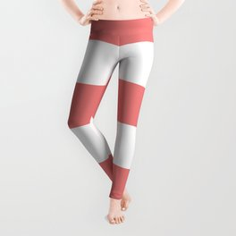 Wide Horizontal Stripes - White and Coral Pink Leggings