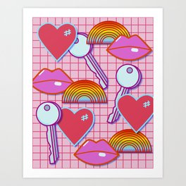 Kisses, Keys, Rainbows and Hearts Art Print