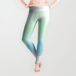 Hand painted turquoise teal blue watercolor ombre brushstrokes Leggings