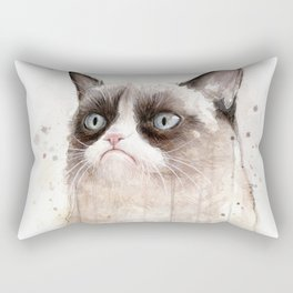 Grumpy Watercolor Cat Geek Meme Whimsical Animals Rectangular Pillow