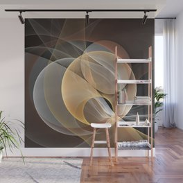Brown, Beige And Gray Abstract Fractals Art Wall Mural