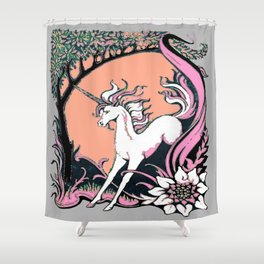 Grey, Pink, Salmon Color Unicorn Floral Fantasy Shower Curtain