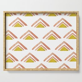 Pink and Yellow Boho Triangles Serving Tray