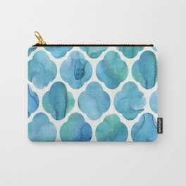 Watercolour Blue Moroccan Tile Print Carry-All Pouch
