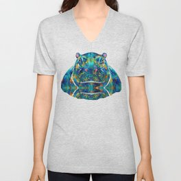Hippopotamus Art - Happy Hippo - By Sharon Cummings Unisex V-Neck
