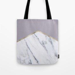Smokey lilac - gold geometric marble Tote Bag