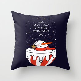 Mes voeux les plus chaleureux  - Melting Snowman - MIDNIGHT BLUE Throw Pillow