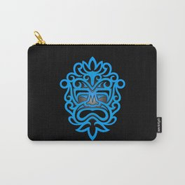 Stylish Blue and Black Mayan Mask Carry-All Pouch